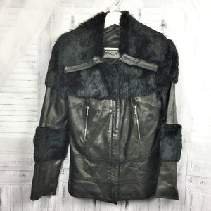 Epica Black Lambskin Leather and Fur Moto Jacket M